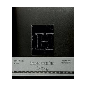 Heidi Swapp Iron Ons Newsprint Outline Uppercase Black Fuzzy