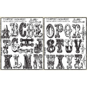 Stampers Anonymous Tim Holtz Cling Mounted Stamps: Large Alphabet Stamp Set