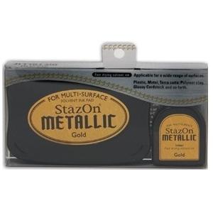 Tsukineko StazOn Metallic Full Size Pad and Inker Kit: Gold