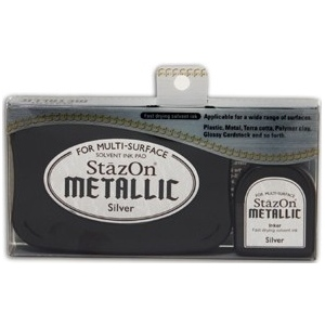 Tsukineko StazOn Metallic Full Size Pad and Inker Kit: Silver