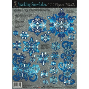 "Hot Off the Press 3-D Papier Tole Die Cuts Snowflakes; Color: Multi; Size: 8 1/2"" x 11""; Type: Dimensional; (model HOTP8015), price per each"