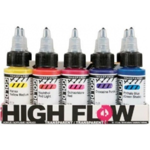 Golden® High Flow Acrylic 10-Color Set: Multi, Bottle, 1 oz, Acrylic, (model 0000953-0), price per set
