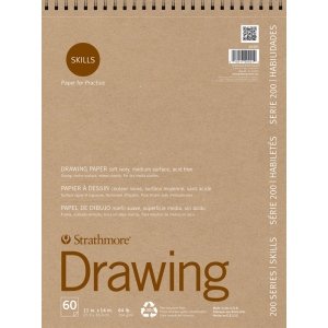 """Strathmore® 200 Series Skills 11"""" x 14"""" Wire Bound Drawing Pad; Color: White/Ivory; Format: Pad; Quantity: 60 Sheets; Size: 11"""" x 14""""; Type: Drawing; (model ST20-021), price per 60 Sheets pad"""