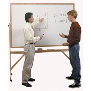 Ghent® d Wood Frame Reversible Double-SideWhiteboard/Corkboard 4' x 6': 4' x 6', Cork Board, Dry Erase, (model RMK46), price per each