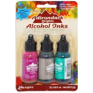 Ranger Tim Holtz Adirondack Alcohol Ink Kits: Brights Valley Trail, Raspberry, Pebble, Clover