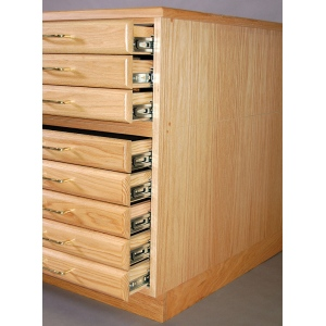 SMI Natural Oak Steel 3 Drawer Guide Flat File