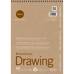 "Strathmore® 200 Series Skills 9"" x 12"" Wire Bound Drawing Pad; Color: White/Ivory; Format: Pad; Quantity: 60 Sheets; Size: 9"" x 12""; Type: Drawing; (model ST20-019), price per 60 Sheets pad"