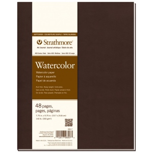 "Strathmore® 400 Series Soft Cover Watercolor Journal 7.75"" x 9.75"": Sewn Bound, White/Ivory, Journal, 48 Pages, 7 3/4"" x 9 3/4"", Cold Press, Watercolor, 140 lb, (model ST483-7), price per each"