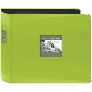 """Pioneer® 12"""" x 12"""" XL D-Ring Leatherette Scrapbook Binder Lime Green; Color: Green; Material: Leatherette; Size: 12"""" x 12""""; (model T12JF/CGN), price per each"""