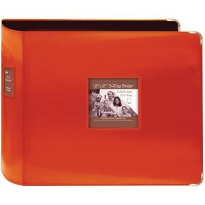 "Pioneer® 12"" x 12"" XL D-Ring Leatherette Scrapbook Binder Bright Orange; Color: Orange; Material: Leatherette; Size: 12"" x 12""; (model T12JF/COR), price per each"