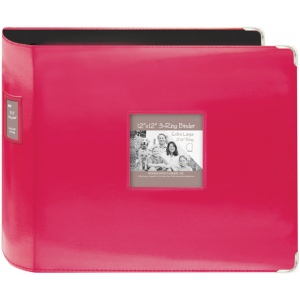 "Pioneer® 12"" x 12"" XL D-Ring Leatherette Scrapbook Binder Bright Pink; Color: Red/Pink; Material: Leatherette; Size: 12"" x 12""; (model T12JF/CPK), price per each"