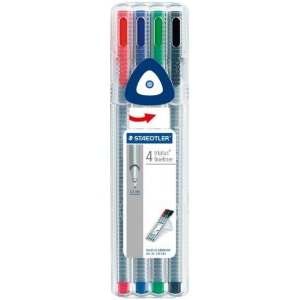 Staedtler® Triplus® Fineliner Pens 4-Color Set ; Color: Multi; Tip Size: .3mm; Tip Type: Super Fine Nib; Type: Multi; (model 334SB4), price per set