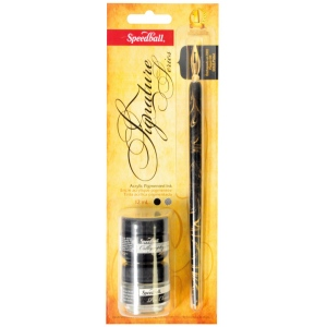Speedball® Pen Holder Nib Ink & Pen Cleaner Set; Ink Type: Water-Resistant; Tip Type: Globe Nib; Type: Pen Holder & Nib Sets; (model H94157), price per set