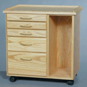 SMI Oak 5 Drawer Taboret with Side Storage