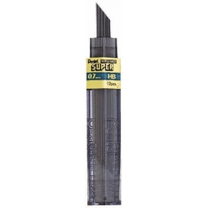 Pentel® Super Hi-Polymer® Super Lead .7mm F; Degree: F; Lead Color: Black/Gray; Lead Size: .7mm; Type: Lead; (model 50-7-F/BX), price per box