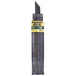 Pentel® Super Hi-Polymer® Super Lead .7mm HB; Degree: HB; Lead Color: Black/Gray; Lead Size: .7mm; Type: Lead; (model 50-7-HB/BX), price per box
