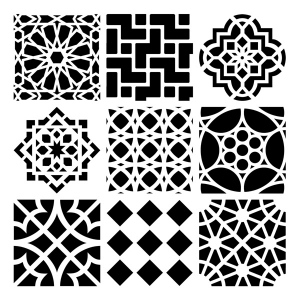 "The Crafter's Workshop 12"" x 12"" Design Template Moroccan Tiles: 12"" x 12"", Patterned Stencil, (model TCW385), price per each"