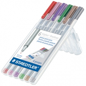 Staedtler® Triplus® Fineliner Pens 6-Color Nature Set : Multi, .3mm, Super Fine Nib, Multi, (model 334SB6NAT), price per set