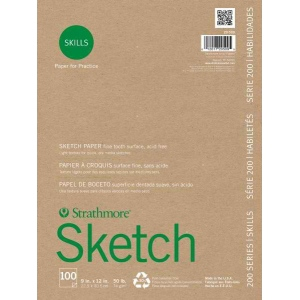 "Strathmore® 200 Series Skills 9"" x 12"" Glue Bound Sketch Pad; Color: White/Ivory; Format: Pad; Quantity: 100 Sheets; Size: 9"" x 12""; Type: Sketching; (model ST20-509), price per 100 Sheets pad"