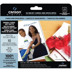 "Canson® Digital Dou Art Card Matte Inkjet Cards and Envelopes; Color: White/Ivory; Format: Card; Size: 5"" x 7""; Texture: Smooth; Type: Matte; (model C100516300), price per pack"