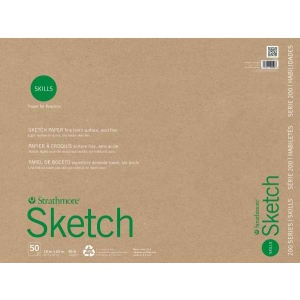 """Strathmore® 200 Series Skills 18"""" x 24"""" Glue Bound Sketch Pad; Color: White/Ivory; Format: Pad; Quantity: 50 Sheets; Size: 18"""" x 24""""; Type: Sketching; (model ST20-528), price per 50 Sheets pad"""