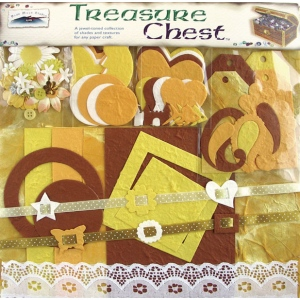 "Blue Hills Studio™ Treasure Chest™ 13 x 12 Paper Collection Premium Decor Kit Citrine; Color: Yellow; Material: Paper; Size: 12"" x 12""; Type: Dimensional; (model BHS501), price per pack"