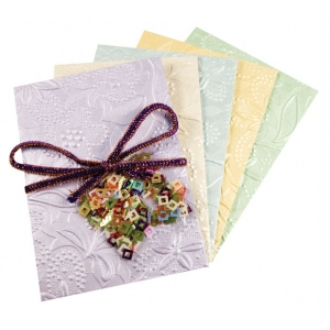 "Blue Hills Studio™ Treasure Chest™ Card Kit Victorian Floral Embossed with Sequins; Color: Multi; Envelope Included: Yes; Format: Card; Size: 4 1/8"" x 5 5/8""; (model BHS315), price per kit"