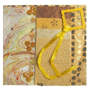 "Blue Hills Studio™ Treasure Chest™ Paper Collection Embellishment Pack Golden Topaz; Color: Yellow; Material: Paper; Size: 12"" x 12""; Type: Dimensional; (model BHS203), price per pack"