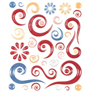 "Blue Hills Studio™ ColorStories™ Epoxy Swirl Stickers Red; Color: Red/Pink; Material: Epoxy; Size: 4 3/4"" x 5 3/4""; Type: Dimensional; (model BHS10107), price per each"