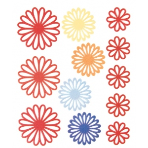 """Blue Hills Studio™ ColorStories™ Gel Outline Daisy Stickers Red; Color: Red/Pink; Material: Gel; Size: 4 3/4"""" x 5 3/4""""; Type: Dimensional; (model BHS10108), price per each"""