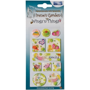 "Blue Hills Studio™ Irene's Garden™ Wings'n'Things Epoxy Stickers Smile: Multi, 2 1/2"" x 5"", Dimensional, (model BHS006), price per each"