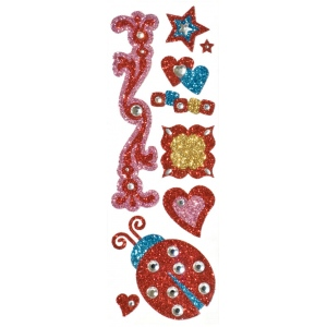 "Blue Hills Studio™ ColorStories™ Glitter Bling Stickers Red; Color: Red/Pink; Material: Glitter; Size: 2"" x 5 3/4""; Type: Flat; (model BHS10112), price per each"