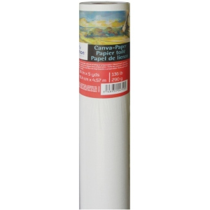"Canson® Foundation Series Canva-Paper™ 36"" x 5yd Roll: White/Ivory, Roll, Linen, 36"" x 5 yd, Primed, (model C400024923), price per roll"