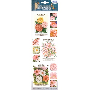 "Blue Hills Studio™ Irene's Garden™ Seed Packet Fabric Stickers Pink; Color: Red/Pink; Size: 9""; Type: Flat; (model BHS016), price per each"