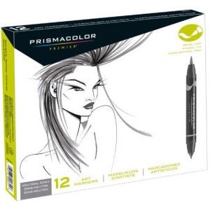 Prismacolor® Premier Brush Marker Neutral Grey Set 12CT; Color: Black/Gray; Double-Ended: Yes; Ink Type: Alcohol-Based, Dye-Based; Tip Type: Brush Nib, Fine Nib; (model SN1850656), price per set