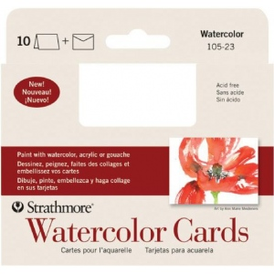 """Strathmore® Announcement Size Watercolor Cards; Color: White/Ivory; Envelope Included: Yes; Format: Card; Quantity: 10 Cards; Size: 3 1/2"""" x 4 7/8""""; Texture: Cold Press; Type: Watercolor; Weight: 140 lb; (model ST105-23), price per 10 Cards"""