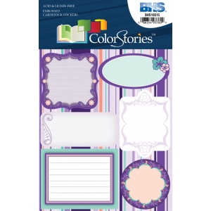 "Blue Hills Studio™ ColorStories™ Embossed Cardstock Stickers Purple; Color: Purple; Material: Cardstock; Size: 4 3/4"" x 5 3/4""; Type: Flat; (model BHS10515), price per each"