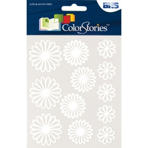 """Blue Hills Studio™ ColorStories™ Gel Outline Daisy Stickers White: White/Ivory, Gel, 4 3/4"""" x 5 3/4"""", Dimensional, (model BHS10708), price per each"""