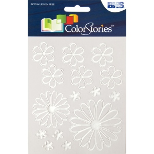 "Blue Hills Studio™ ColorStories™ Glossy Embossed Daisy Stickers White: White/Ivory, Gel, 4 3/4"" x 5 3/4"", Dimensional, (model BHS10711), price per each"