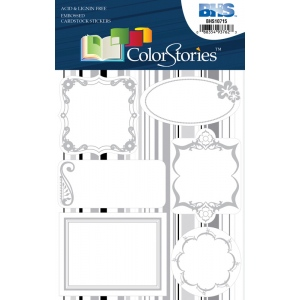 """Blue Hills Studio™ ColorStories™ Embossed Cardstock Stickers White; Color: White/Ivory; Material: Cardstock; Size: 4 3/4"""" x 5 3/4""""; Type: Flat; (model BHS10715), price per each"""