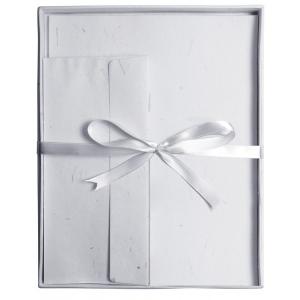 "Blue Hills Studio™ Fine Writing Stationery 20-Sheet Set Gray: Black/Gray, White/Ivory, Envelope Included, Sheet, 8 1/2"" x 11"", Smooth, (model BHS20203), price per set"