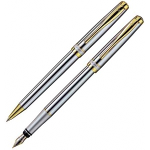 X-Pen® Novo Ballpoint and Fountain Pen Set: Black/Gray, Ballpoint, Fountain, (model XP141S), price per set