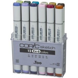 Copic® Sketch Sketch Marker 12pc Set EX-6: Purple, Double-Ended, Alcohol-Based, Refillable, Broad Nib, Brush Nib, (model S12EX-6), price per set
