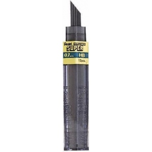 Pentel® Super Hi-Polymer® Super Lead .7mm 2B; Degree: 2B; Lead Color: Black/Gray; Lead Size: .7mm; Type: Lead; (model 50-7-2B/BX), price per box