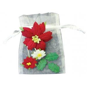 """Blue Hills Studio™ Irene's Garden™ Bag O'Poinsettias BAG O POINSETTIAS 6bgs 6pcs/bg: Red/Pink, White/Ivory, Paper, 1 1/2"""", 2 1/2"""", Dimensional, (model BHS750), price per pack"""