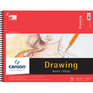 """Canson® Foundation Series 14"""" x 17"""" Foundation Drawing Pad: Wire Bound, White/Ivory, Pad, 30 Sheets, 14"""" x 17"""", Fine, (model C100510980), price per 30 Sheets pad"""