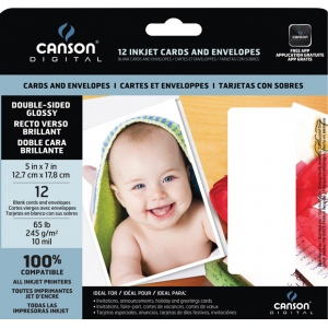 "Canson® Digital Double-Sided Glossy Inkjet Cards and Envelopes: White/Ivory, Card, 5"" x 7"", Smooth, Gloss, (model C100516298), price per pack"