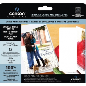 Canson Digital Inkjet Cards and Envelopes: Double-Sided, Matte, 61 lb./230g, 12 Pieces