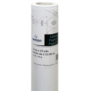 "Canson® Foundation Series 24"" x 25yd Layout Bond Roll; Color: White/Ivory; Format: Roll; Size: 24"" x 25 yd; Texture: Smooth; (model C100510838), price per roll"