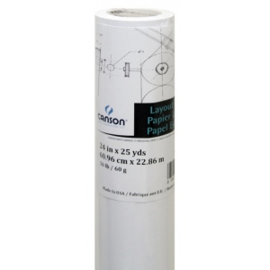 """Canson® Foundation Series 36"""" x 25yd Layout Bond Roll; Color: White/Ivory; Format: Roll; Size: 36"""" x 25 yd; Texture: Smooth; (model C100510839), price per roll"""